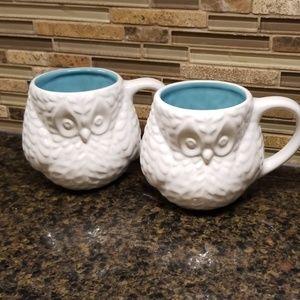 Set of white owl mugs with turquoise inside